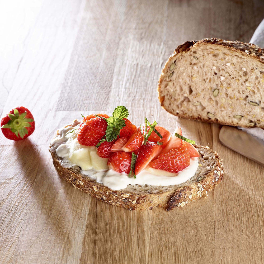 Tartine Lin Dore Courge Pomme Fraise