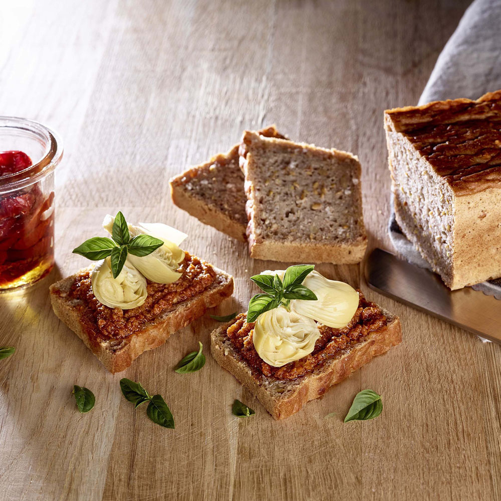 Tartine Riz Complet Graines Au Pesto Rouge Et Artichauds